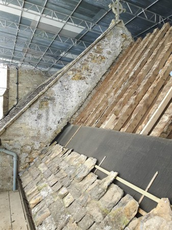 15-salvaged stone slates being reused on south chancel slope