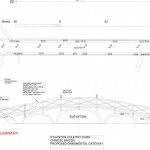 Chinese Bridge as proposed with new green oak balustrade and gateways.